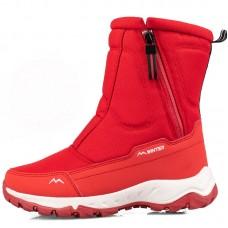 Сапоги женские зимние водонепроницаемые с боковой молнией красные,  zak120-D2002-8