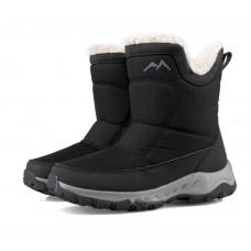 Сапоги женские зимние водонепроницаемые с боковой молнией черные,  zak120-Z2003-1