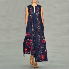 Платье без рукавов с цифровым принтом v-образным вырезом, zak155-8632-4