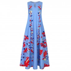 Платье без рукавов с цифровым принтом v-образным вырезом, zak155-8632-5