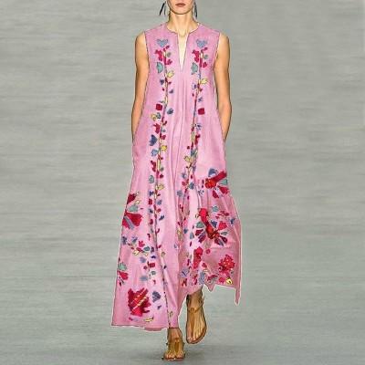 Платье без рукавов с цифровым принтом v-образным вырезом, zak155-8632-6