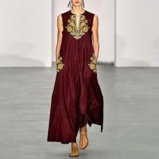 Платье без рукавов с цифровым принтом v-образным вырезом, zak155-8632A-1