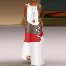 Платье без рукавов с цифровым принтом v-образным вырезом, zak155-9333-1