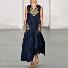 Платье без рукавов с цифровым принтом v-образным вырезом, zak155-8632A-3