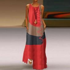 Платье без рукавов с цифровым принтом v-образным вырезом, zak155-9333-2
