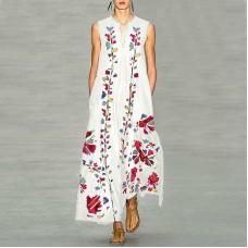Платье без рукавов с цифровым принтом v-образным вырезом, zak155-8632-1