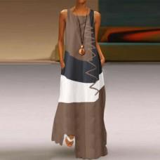 Платье без рукавов с цифровым принтом v-образным вырезом, zak155-9333-3