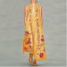 Платье без рукавов с цифровым принтом v-образным вырезом, zak155-8632-2