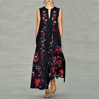 Платье без рукавов с цифровым принтом v-образным вырезом, zak155-8632-3