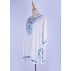 Пляжная блуза-туника белая с вышивкой Xanyee, zak36-ZS653