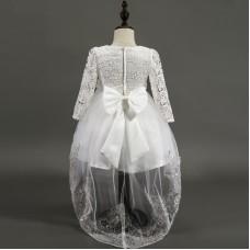Платье нарядное белое с подолом, zak48-1351