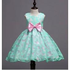 Платье нарядное бабочки мятное , zak48-1537-1