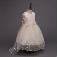 Платье нарядное бежевое с цветами, zak48-1324-10