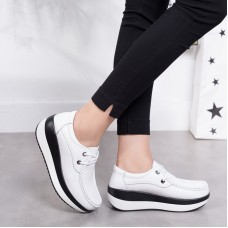 Кожаные туфли на платформе женские со шнуровкой, модель zak88-P3213-2